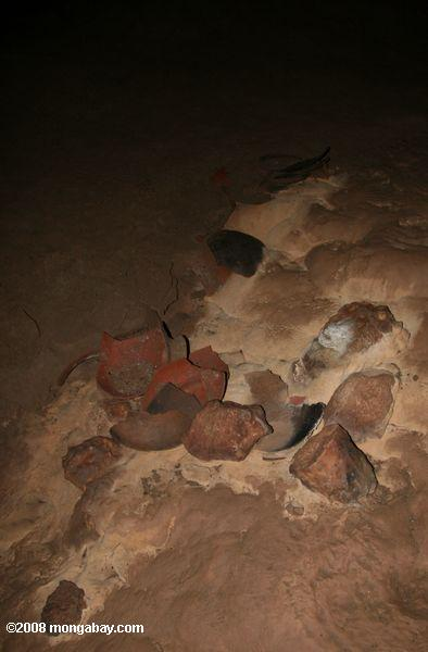 Broken Mayan pottery in ATM cave
