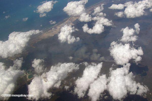 Aerial view of burning in coastal Mexico
