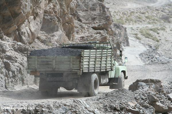 Truck carrying coal in Western China. Photo by: Rhett A. Butler.