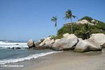 Boulders on the beach at Arrecifes in Parque Tayrona