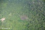 Aerial view of a patch of cleared rainforest in the Colombian Amazon