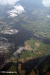 Aerial view of forest clearing in the Colombian countryside