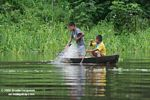 Amazon children using a fishing net