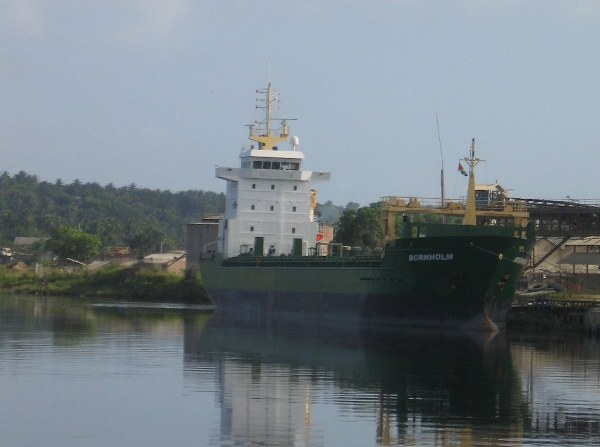 Ship in mining town