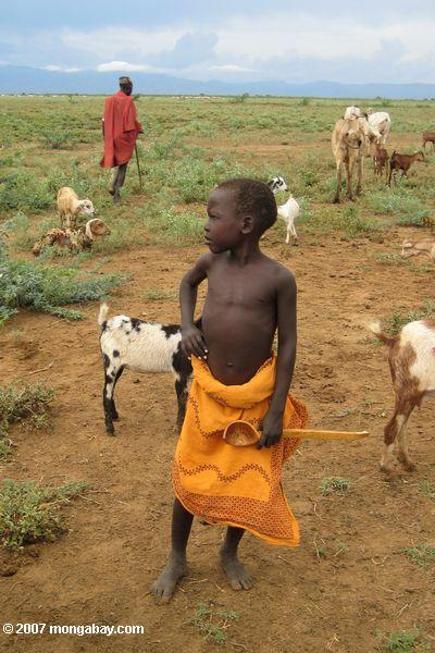 Young boy in the Turkana tribe. Living in northern Kenya the tribe is buffeted by drought and food scarcity. Scientists say this will only worsen with climate change. Photo by: Rhett A. Butler.