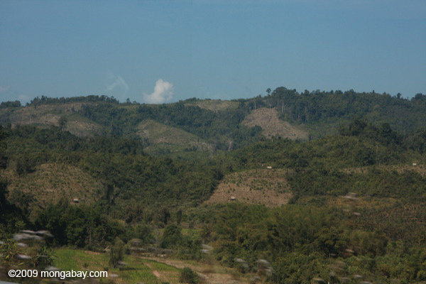 Deforested landscape along Route 3 in Laos