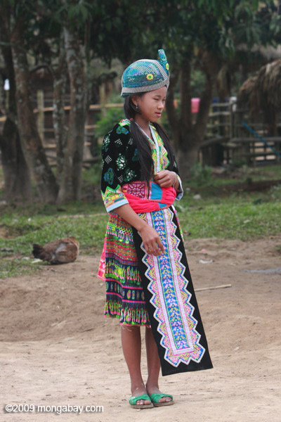 Hmong girl dressed up for a traditional courtship game