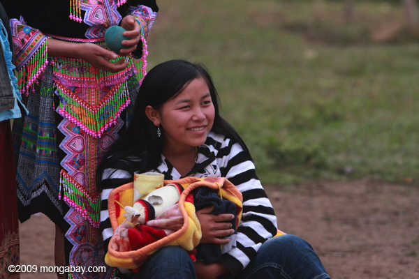 Hmong woman with child