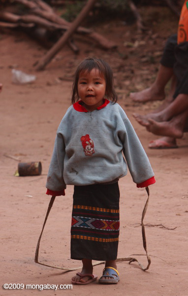 Little girl jump-roping in a Luang Namtha village
