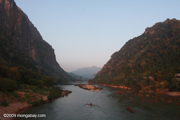Nam Ou river gorge at sunset