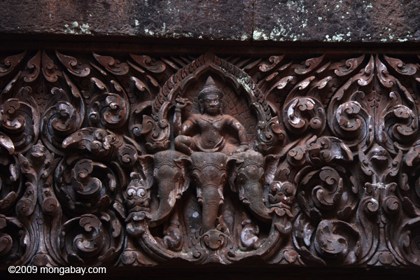 Stone carvings on the main sanctuary at Wat Phou