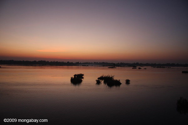 Sunset over the Mekong at Siphandon, 'the 4000 islands' region of Southern Laos