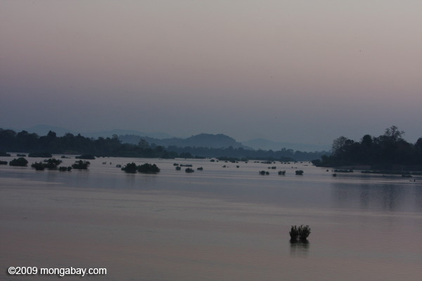 Fisherman at sunrise on the Mekong
