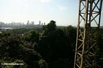 Tropical forest canopy crane with Panama city as a backdrop