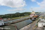 Container ship passing through the Panama canal