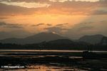Sunset behind the Panama Canal