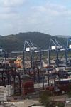 Stacked shipping containers along the Panama Canal