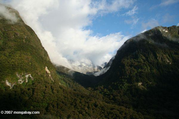 Hanging valley in Milford Sound
