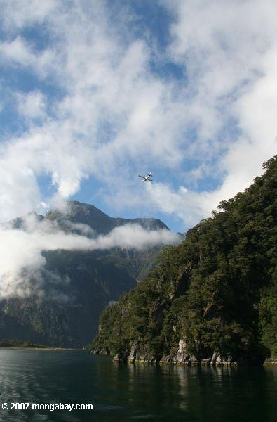 Airplane flying over Milford Sound