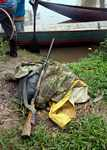 Trio gear set aside for a hunting trip