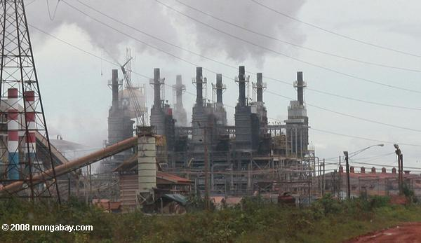 Aluminum plant in Suriname. Scientists have also suggested the Industrial Revolution as a possible starting point for the Anthropocene. Photo by: Rhett A. Butler.