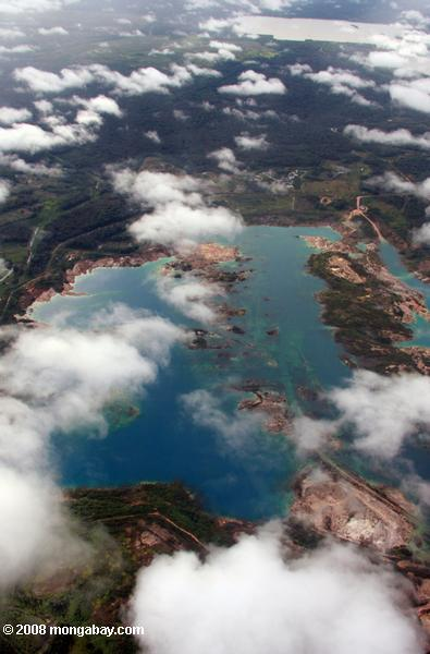 Aerial view of a tailing pond for the Suraco bauxite mine
