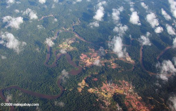 Aerial view of damage wrought by gold mining
