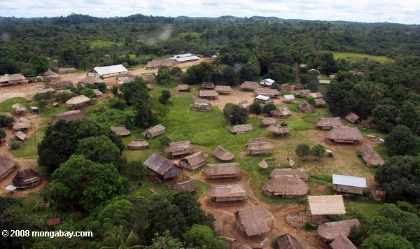 Aerial view of Kwamala village in the interior of Suriname. Photo by: Rhett A. Butler.