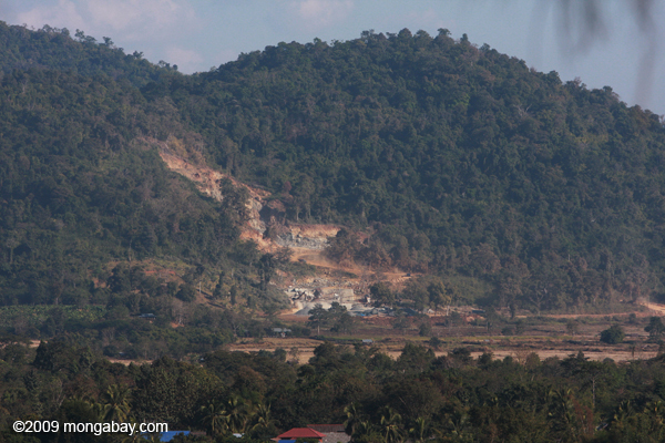 Deforestation from mining in Laos. Photo by: Rhett A. Butler.