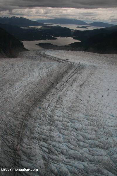 Aerial view of Mendenhall glacier