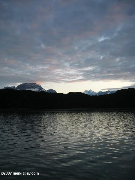 Mountains at sunset in Glacier Bay
