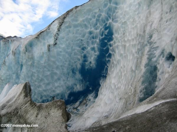 Wall of blue glacial ice